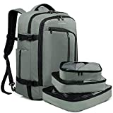 BANGE Travel Overnight Backpack,40-Liter FAA Flight Approved Weekender Bag Carry on Backpack GREEN (Backpack with 3 Cubes)