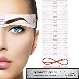 Eyebrow Stencil, 12 Eyebrow Shaper Kit Reusable Eyebrow Template With Strap & Eyebrow Razor, 3...