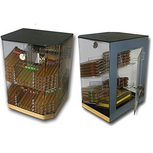 Prestige Import Group - The Franklin Acrylic Clear Cigar Humidor Table Top Display - Up to 150 Cigars