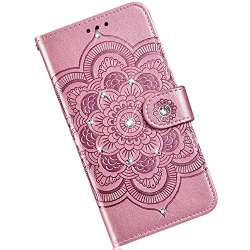 Qjuegad Kompatibel mit Samsung Galaxy A10 Hülle Premium Flip Ledertasche Schutzhülle,Mandala Punktbohrer Muster Stoßfest Magnetische Flip Wallet Hülle mit Kartenhalter Cover mit Lanyard - Roségold