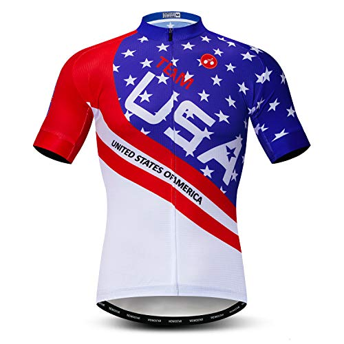"""JPOJPO USA Cycling Jersey Men Men's Bike Shirt Short Sleeve Tops, S-XXXL, More Breathable, Lycra Cuffs,Reflective Strip, Cf0130, For Your Chest 38-40"""" (M)"""