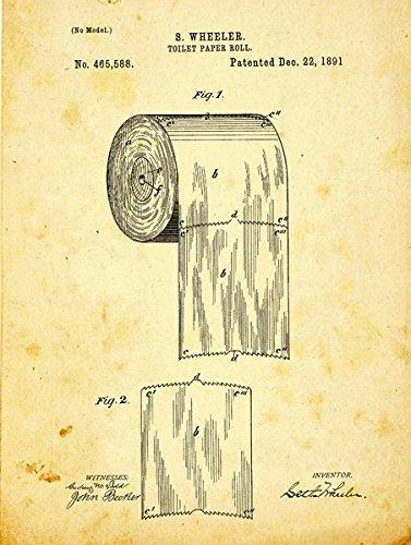 Homebody Accents Toilettenpapier Patent Zeichnung Metallschild Vintage Bad Badezimmer Steampunk IndustrialDecor