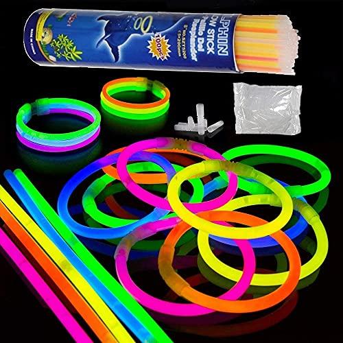 Barre Luminose 7Colori Fluorescenti Bastoncini luminosi 100*20cm Bagliore Colorato Bastoni con 100 Connettori per Collana bracciali luminosi fluorescenti per feste matrimoni compleanni(100 pieces)