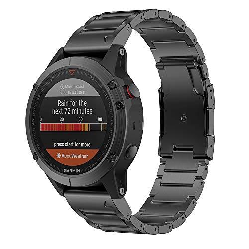 Notocity Compatible with Fenix 6 Titanium Alloy Watch Band 22mm Width Watch Strap for Fenix 5/Fenix 5 Plus/Fenix 6/Fenix 6 Pro/Forerunner 935/Approach S60/Quatix 5 (Black)