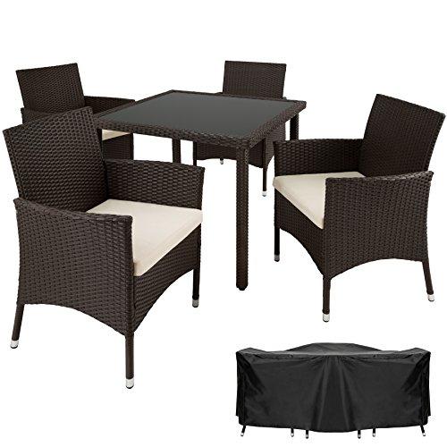 TecTake Poly Ratán Muebles de jardín Conjunto para jardín 4+1 | Tornillos...