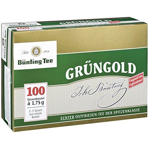 Bünting Tee Grüngold, 100 Tassenbeutel 6er Pack
