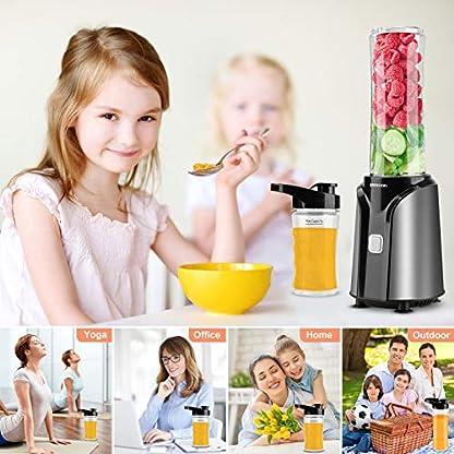 UBEGOOD-Mixer-Smoothie-Maker-400Watt-Tragbar-Standmixer-Edelstahl-Elektrischer-Blender-Mini-Smoothie-Maker-mit-600ml-300ml-Trinkflaschen-und-200ml-Trockenschleifbecher-fuer-Zuhause-Buero-Reise
