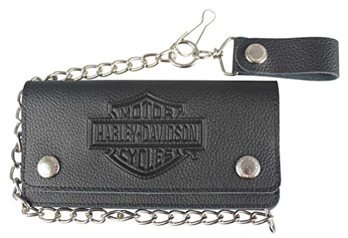 Harley-Davidson Men's Embossed B&S Tall Trucker Biker Wallet, Black XML3508-BLK
