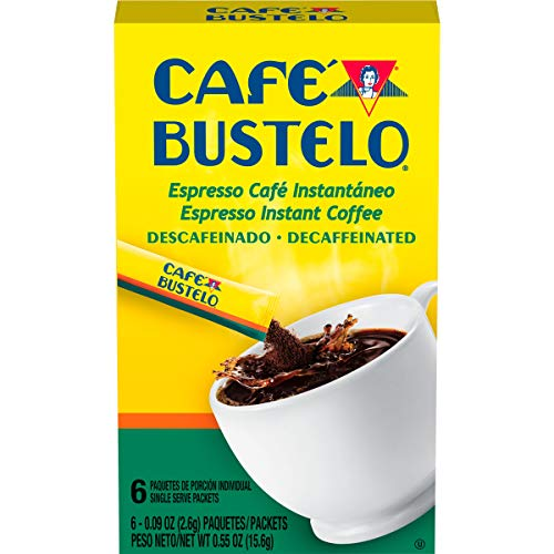 Caf Bustelo Espresso Style Decaffeinated Dark Roast Instant Coffee, 72 Count Single Serve Packets