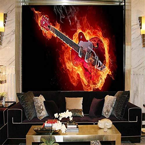 Tapeten Wandbild Hintergrundbild FototapeteBenutzerdefinierte Foto Große Wandmalereien Hintergrundbild Wohnzimmer Tv Feuer Gitarre Abstrakte 3D Wandbilder Wallpaper @ 150 * 105 Cm