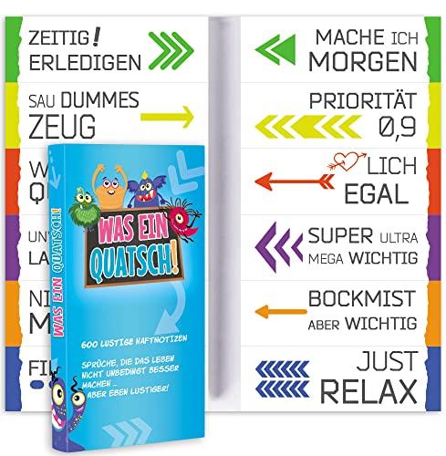 600 Lustige Haftnotizen (12 x 50 Blatt) | Haftnotiz Set mit verschiedenen witzigen Sprüchen für Uni, Schule, Büro oder WG | Bunte Klebezettel zum Lernen und Markieren | Geschenktipp für Studenten