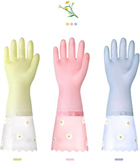 Sponsored Ad - Dishwashing Cleaning Gloves 3 Pairs - Reusable Rubber Gloves Non-Slip Laundry Kitchen Gardening Waterproof ...