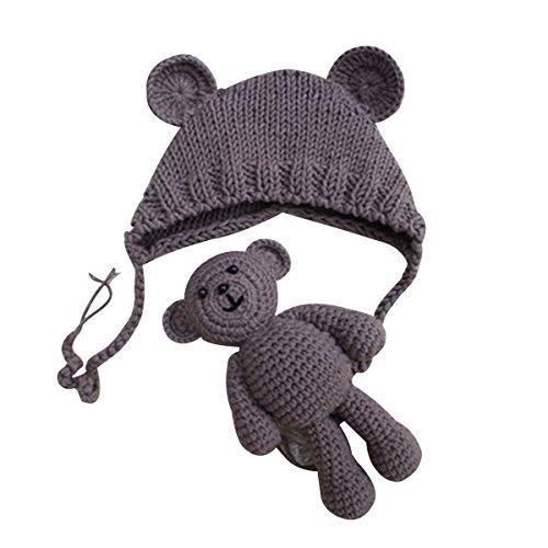 YeahiBaby Accesorios de fotografía de bebé Recién nacido Sombrero de oso de punto lindo con gorra de juguete de ganchillo Niños de osos Gorro de fotografía de niña (Caqui)