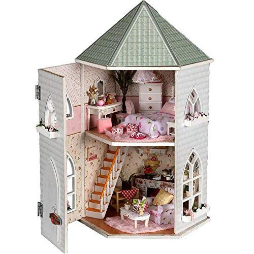 B-Creative Kit de casa de muñecas en miniatura de madera DIY – Casa de muñecas con muebles LED luz casa música casa juguetes de madera