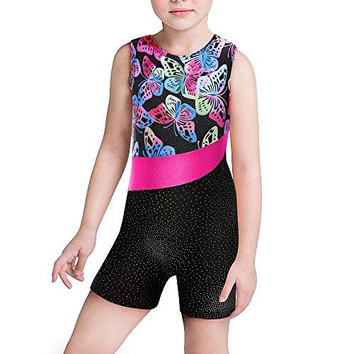 Kidsparadisy Mädchen Gymnastik Trikot mit Shorts Ärmellos Gespleißt Band Funkeln Tanzabnutzung für 2-15 Jahre (Butterfly, 170(14-15 Jahre))