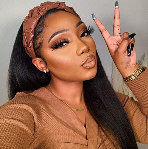 """MS.ILSA Italian Yaki Left U Part Wigs for Black Women 150 Density Brazilian Remy Human Hair Wigs Cheap Kinky Straight Non Lace Wigs for African Americans 16"""" Natural Color"""