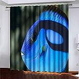 Cortinas 2 paneles Cirujano peces de los arrecifes del Pacífico generalizados para acuarios Hobby famoso porque la película se encuentra ahora muy para la decoración del dormitorio de la sala de estar