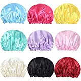 9 Pack Shower Caps Bath Caps for Women Waterproof Double Layers Solid Color Bathing Shower Caps