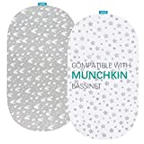 Bassinet Fitted Sheets Compatible with Munchkin Brica Fold N' Go Travel Bassinet, 2 Pack, 100% Jersey Knit Cotton Fitted Sheets, Breathable and Heavenly Soft,Grey Hearts and White Stars Print for Baby