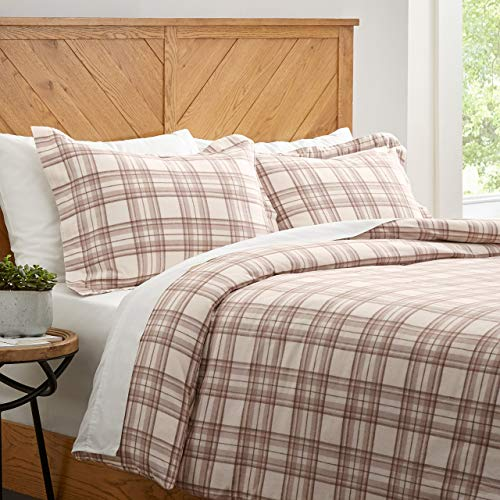 Amazon Brand – Stone & Beam Rustic Plaid Flannel Duvet Cover Set, Full / Queen, Ivory and Cream