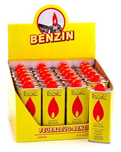 RSonic Feuerzeugbenzin Benzin Universal Nachfüller 24x 125ml im Display | Petrol Gasoline Haushaltsbenzin Reinigungsbenzin