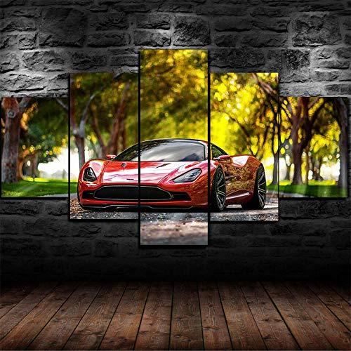 45Tdfc su Tela Stampa- DBC Sportivo di Lusso Rosso DBC Immagine di Arte della Parete 5 Pezzi Quadri Moderni Dipinti Foto per Soggiorno Camera da Letto Divano TV Sfondo Gym Home Decor150X80CM