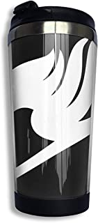 Taza Térmica De Viaje,Termo De Café,Taza De Café,Botella Acero Inoxidable,Vaso De Doble Pared Con Símbolo Fairy Tail,Taza De Viaje,Con Tapa Sellada 13.5 OZ