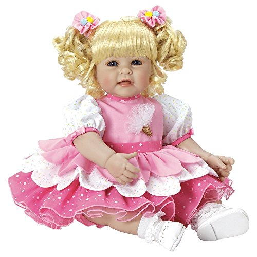 """Adora Toddler Ice Cream Party 20"""" Girl Weighted Doll Gift Set for Children 6 Huggable Vinyl Cuddly Snuggle Soft Body Toy"""