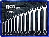 BGS 1195   Maul-Ringschlüssel-Satz   12-tlg.   Zollgrößen   SW 1/4' - 15/16'   inkl. Tetron-Rolltasche   Gabelringschlüssel