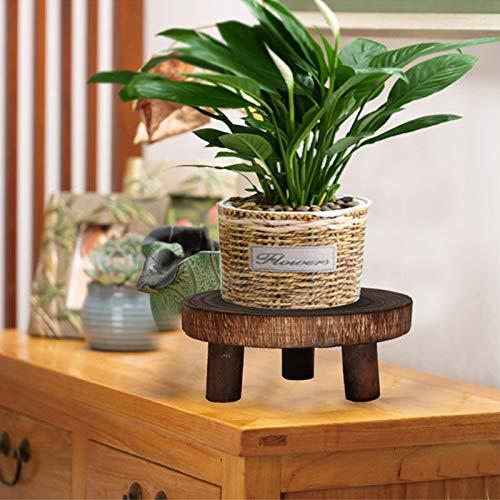 Pequeño soporte de plantas de taburete de madera, Mini soporte de exhibición de taburete de madera, Taburete de madera de decorativos redondos para mostrar pasteles, plantas, velas, decoración,Marrón