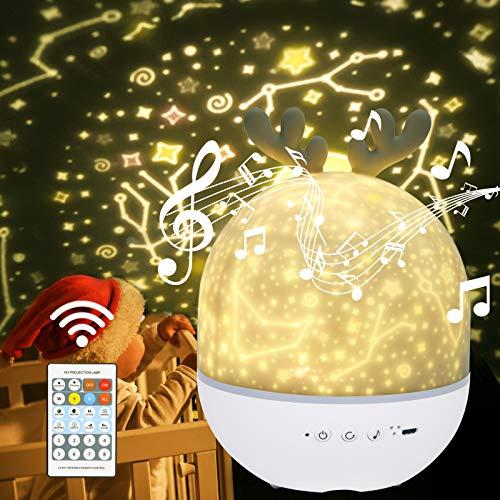 URAQT Veilleuse Enfant Lampe Etoile Projecteur, 360°Rotation Musicale Veilleuse + Minuterie + Télécommande + 6 Couleurs, LED Veilleuse Ciel Etoilé Bébé pour Anniversaire, Noël [Classe énergétique A++]