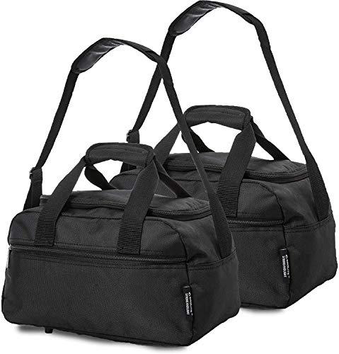 Aerolite 40x20x25 New 2021 Ryanair Maximum Size Holdall Cabin Luggage Under Seat Flight Bag (Black X 2)