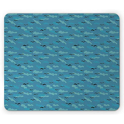 Seemöwen-muisonderlegger, dierlijke retro vliegenvogels over de wolken in blauw tint illustratie-druk-anti-slip rubberen muismat
