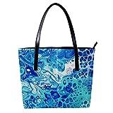 LORVIES - Bolso de mano para mujer con diseño de abstracto, acrílico, color azul marino