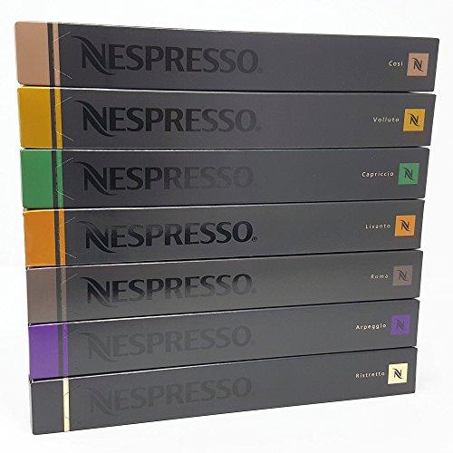 Nespresso Assortment, 70?Capsules???Ristretto, Arpeggio, Rome, Livanto, Capriccio, Volluto, Cosi