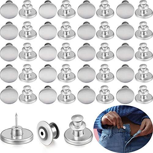 Chuangdi 20 Sets Metall Jeans Knopf Ersatz Kein Nähen Sofort Knöpfe Abnehmbare Hosen Knöpfe für Hosen Verstellbare Jeans Reparatur Kit Befestigung Werkzeug (Silber Weiß)