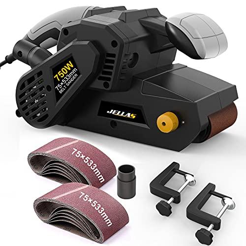 Lijadora de Banda Jellas, 750W Lijadora Eléctrica con 10 75 x 533mm bandas lija, Control de Velocidad Variable, Adaptador para Aspiradora 2 en 1 y Bolsa guardapolvo, BS750