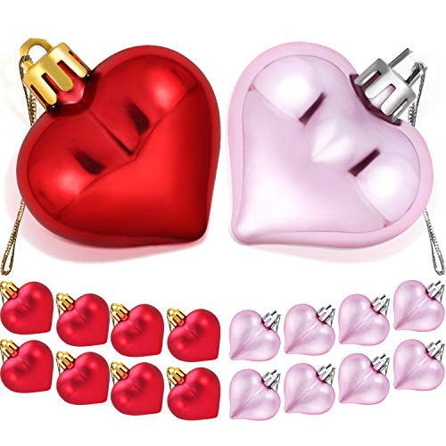 TecUnite 36 Pieces Heart Baubles Heart Shaped Decorations Valentine's Day Matt Heart Ornament for Home Party Decor, 2 Types (Red, Pink)