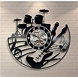 Musique Guitare Vinyle Disque Horloge Murale Design Moderne Art Murale Créative Salon Chambre Décoration Horloge avec LED 12 Pouces