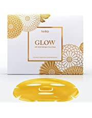 Keiko Glow 24K Gold Collagen Face Mask - Hydrogel Face Sheet Mask with Hyaluronic Acid - Hydrates Skin, Brightens Skin Tone, Helps Reduce Fine Lines and Wrinkles, Anti-aging Treatment (6 pieces)