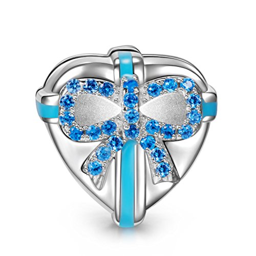 Ninaqueen 925 Sterling Silver 'Love Gift' Heart Clip Charms Fit Pandora Bracelet
