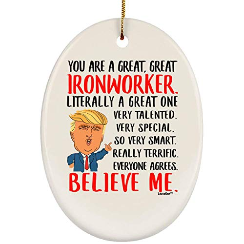 Lovesout Funny You are Great Ironworker Christmas Tree Oval Ornament