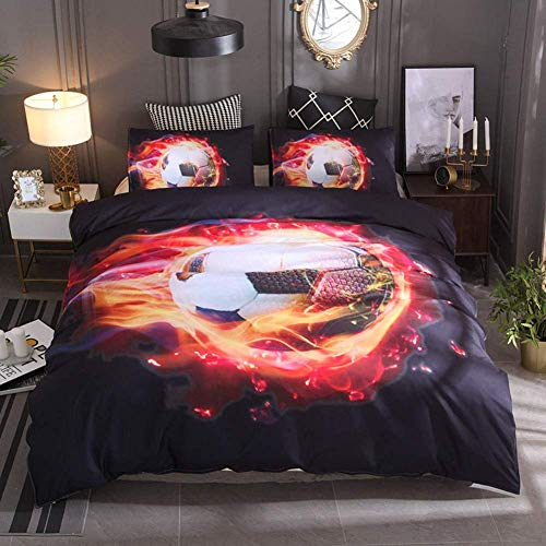 Bedding Set 3D Football Basketball Rugby Volleyball Printed Children Boy Quilt Cover Set Super Soft Duvet Cover Pillow Case Zipper Closure Easy Care / 228x228cm Let You Have Better Sleep