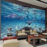 Papel tapiz 3D de dibujos animados, mural de la vida del mundo marino creativo, dormitorio para niños, acuario, sala de estar, telón de fondo, papel de pared, decoración del hogar-200x140cm