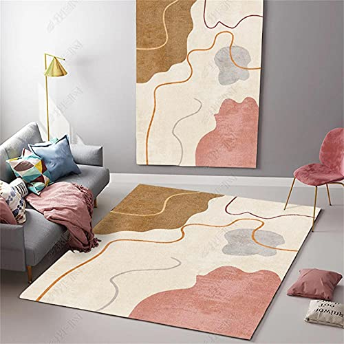 Alfombras De Habitacion Juvenil Alfombra Antideslizante Beige Rosa Amarillo Gris Moderno Simple diseño gráfico Abstracto Simple Alfombras De Vinilo Salon 100X120cm