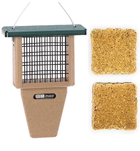 Naturesroom Poly-Lumber Prop Suet Feeder for Birds - Include 2 Bonus Suet Cake Cage Feeder Packs -Premium Insect and Peanut Suet Cakes for Feeder Basket Holder