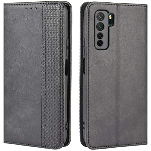 HualuBro Handyhülle für Huawei P40 Lite 5G Hülle, Retro Leder Stoßfest Klapphülle Schutzhülle Handytasche LederHülle Flip Hülle Cover für Huawei P40 Lite 5G Tasche, Schwarz