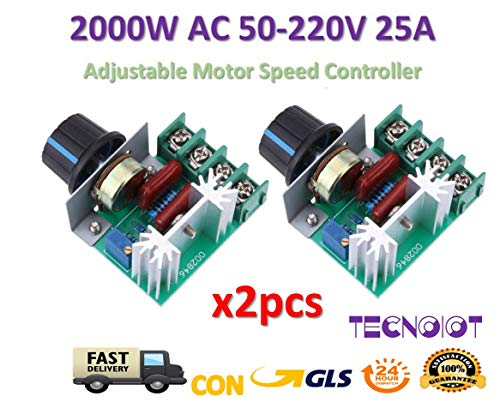 2pcs AC 50-220V 2000W SCR Dimming Dimmer Adjustable Motor Speed Controller Thermostat