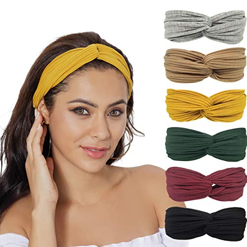 RINCO Headbands for Women,Casual Fashion Stretchy Hair Bands Yoga Workout Non Slip Sweat Vintage Hair Accessories,6 Packs (Twisted Set)