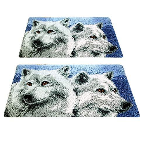 freneci 2 Satz Knüpfteppich mit Knüpfhaken und Knüpfwolle, Tier Wolf Teppich Stickpackung Knüpfteppiche Knüpfbild für Erwachsene, Kinder